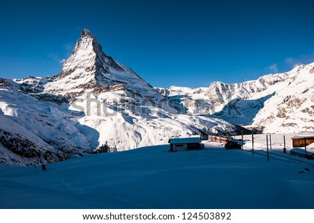 Matterhorn and village - stock photo