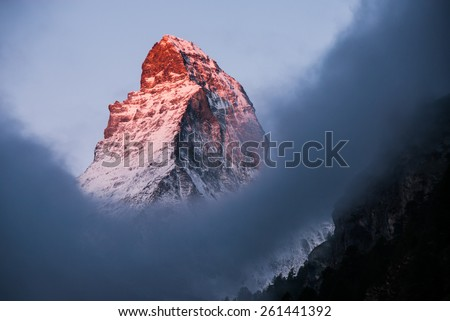 Matterhorn in early morning in the clouds. Zermatt, Switzerland.