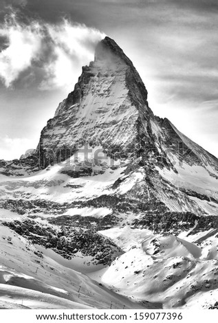Matterhorn in the Swiss alps.  - stock photo