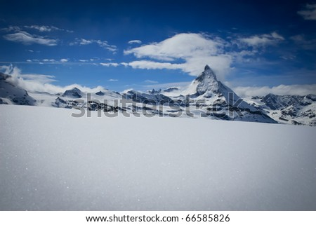 Matterhorn in winter - stock photo