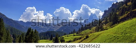 Matterhorn landscape with clouds by day, Zermatt, Switzerland