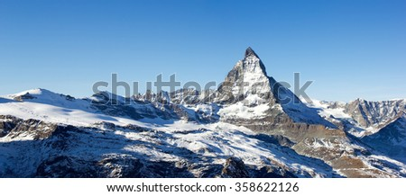 Matterhorn panorama - the most famous landmark in Swiss Alps mountains (large stitched file) - stock photo