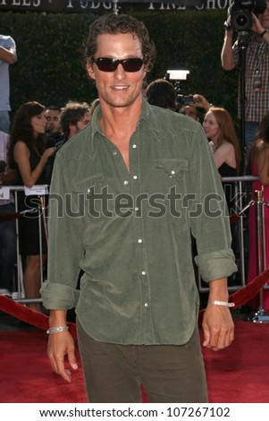 Matthew McConaughey  at the Los Angeles Premiere of 'Tropic Thunder'. Mann's Village Theater, Westwood, CA. 08-11-08 - stock photo