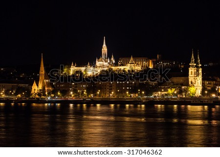 Matthias church and the Fisherman's Bastion at night in Budapest Hungary