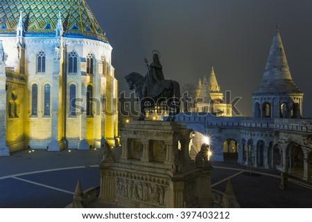 Matthias Church At Night in Buda Castle , Budapest - stock photo