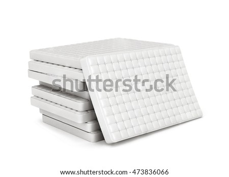mattress isolated on white background stack of orthopedic mattresses 3d