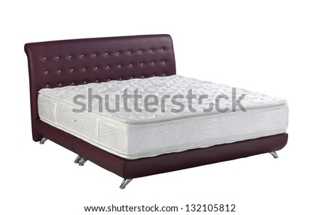 Mattress maroon color spring bed isolated on white background