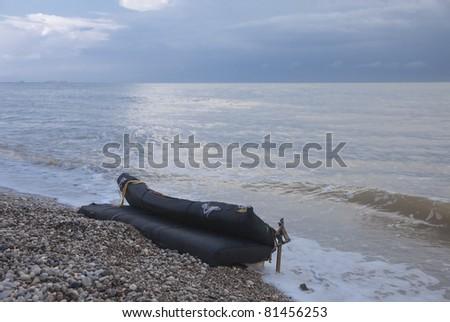 Mattress on Beach - Olympos, Turkish Riviera, Turkey, Asia - stock photo