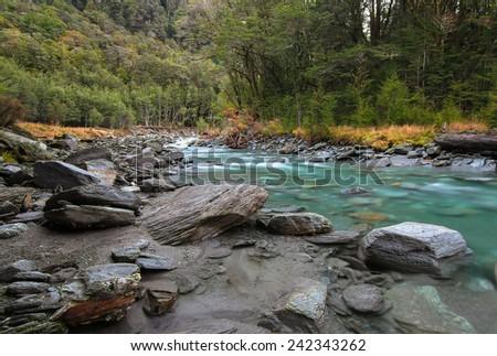 Matukituki River - West Branch, Mt. Aspiring National Park, South Island of New Zealand - stock photo