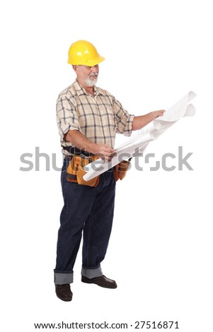 Mature architect builder reading blueprints; cleanly isolated on white
