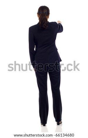 Mature Asian business woman's back isolated over a white background - stock photo