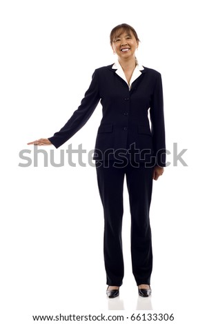 Mature Asian business woman with hand on something imaginary - isolated over a white background - stock photo