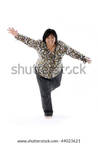 mature asian lady against white background - stock photo