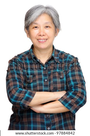 mature asian woman smile - stock photo