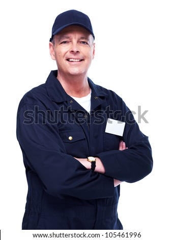 Mature auto mechanic. Isolated on white background. - stock photo