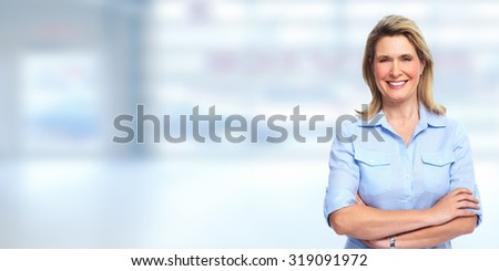 Mature blonde business woman portrait. Accounting and finance. - stock photo