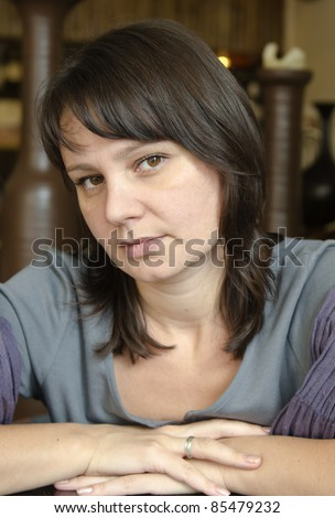 MATURE BRUNETTE - stock photo