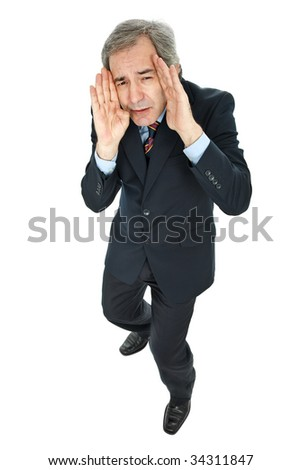 mature business man isolated on white background - stock photo