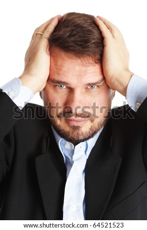 Mature business man with a head ache - stock photo