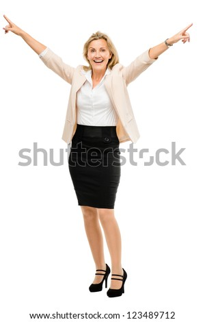 Mature business woman celebrating success full length isolated on white background