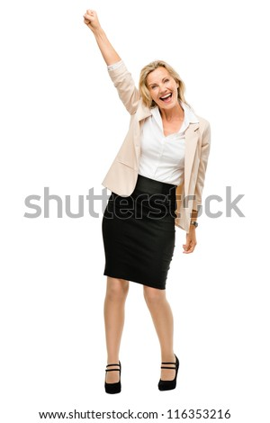 Mature business woman celebrating success smiling isolated on white background