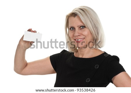 mature business woman holding a blank business card isolated on white background