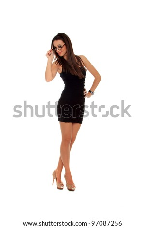 Mature business woman. Isolated over white background - stock photo