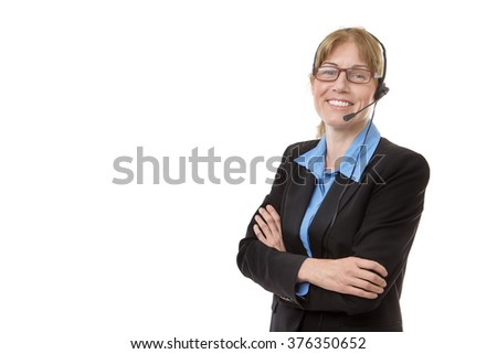 Mature business worker wearing a headset, isolated on white, with copy space - stock photo