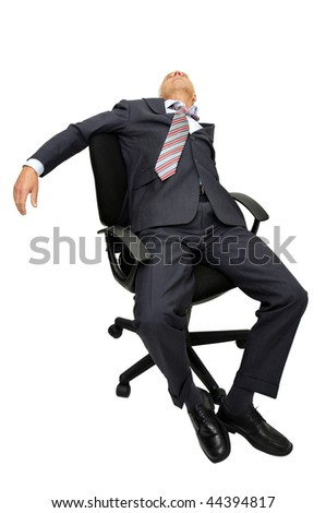 Mature businessman in a chair isolated in white