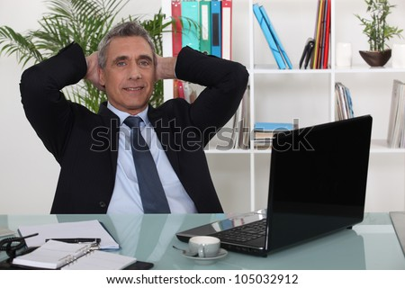 Mature businessman in office - stock photo