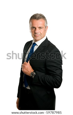 Mature businessman looking at camera with satisfied smile isolated on white background
