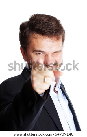 Mature businessman pointing to camera, isolated over white background - stock photo