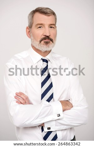 Mature businessman posing with crossed arms - stock photo