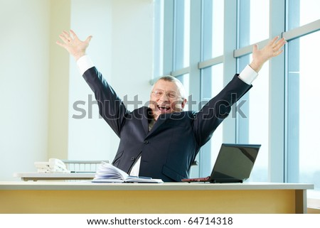 Mature businessman raising arms and shouting in joy - stock photo