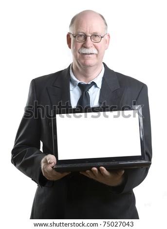 Mature businessman showing laptop - stock photo