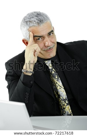 Mature businessman thinking leaning on hand, looking at camera, smiling. Isolated on white.? - stock photo