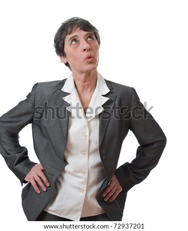mature businesswoman whistling isolated on white background - stock photo