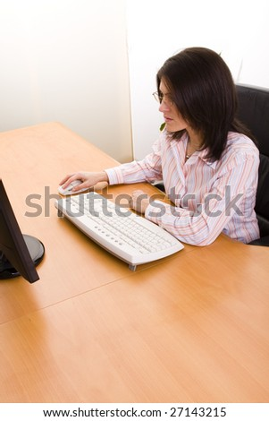 mature businesswoman working at her office