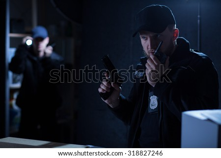 Mature chief of police on the intervention - stock photo