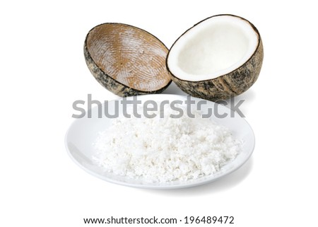 mature coconut meat for make coconut milk isolated on white background - stock photo