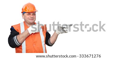 Mature contractor shows gesture on white background - stock photo