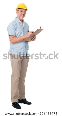 Mature contractor with hardhat and clipboard isolated on white background - stock photo