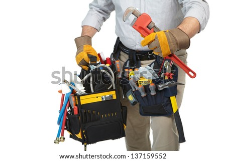 Mature contractor working. Over white background. Worker - stock photo