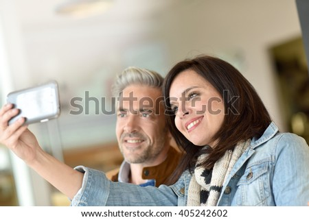 Mature couple taking selfie picture