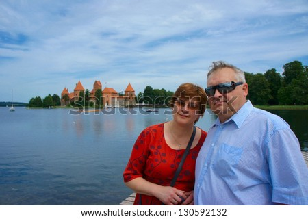 Mature couple travels to Europe, Trakai, Lithuania