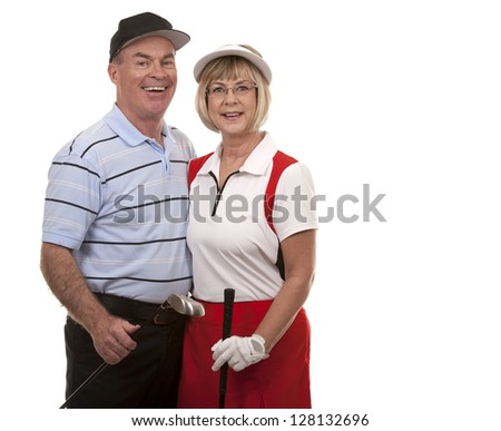 mature couple wearing golf outfit on white background - stock photo