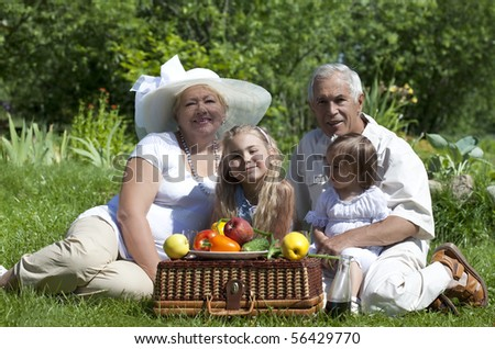 Mature couple with two granddaughters picnicked on the grass - stock photo