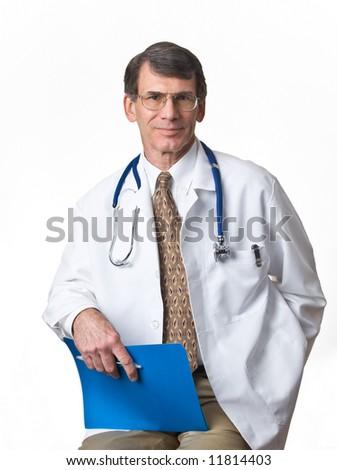 Mature Doctor/Physician with lab coat and stethoscope; white background - stock photo
