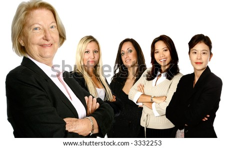 Mature female caucasian  leading a team of business women from diverse background made up of a caucasian, a mediterranean, an Asian and a Japanese woman,  isolated on white.