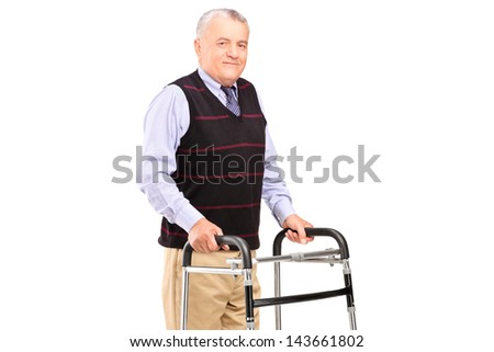 Mature gentleman using a walker isolated on white background - stock photo